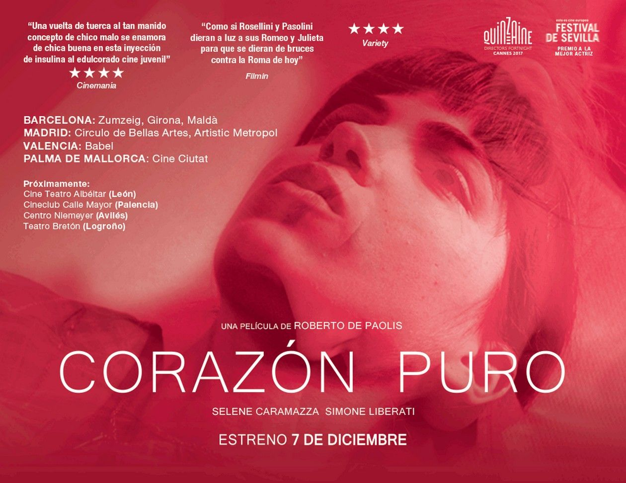 BEST ACTRESS AWARD - SEVILLE 2017 / Selene Caramazza Italian actress | Cuori puri / Coeurs purs / Roberto De Paolis 2017 / Movie Poster / Affiche film