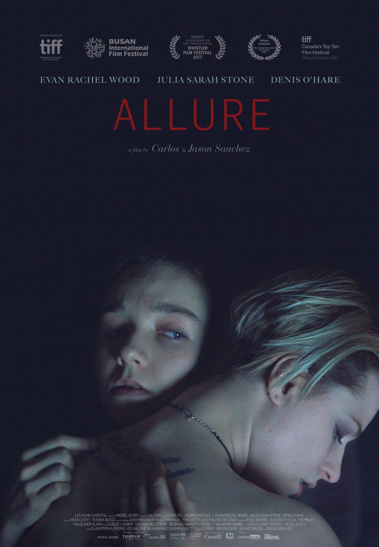 Evan Rachel Wood / Julia Sarah Stone actresses | Allure / Carlos Sanchez, Jason Sanchez 2017 / Movie Poster / Affiche film