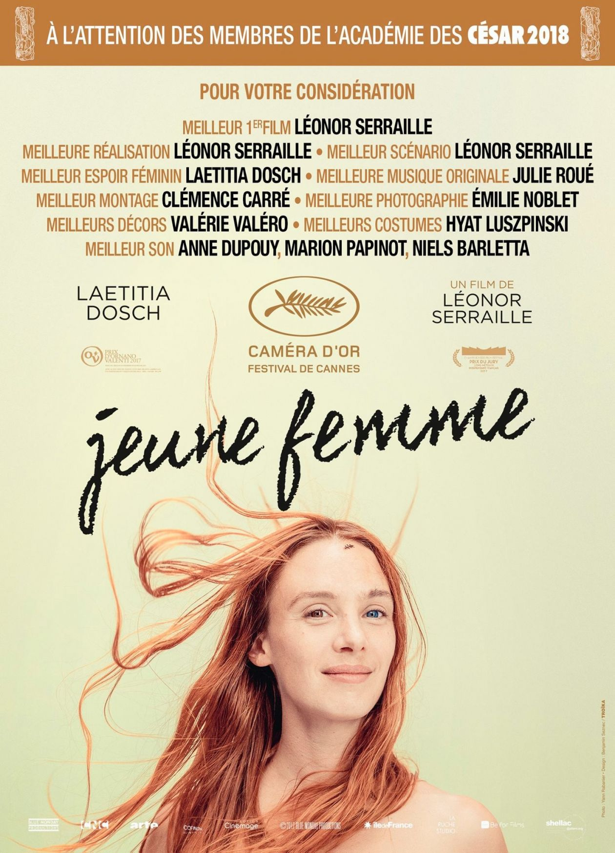 Laetitia Dosch French and Swiss actress / Jeune femme / Léonor Serraille 2017 / Movie Poster / Affiche du film : César 2018 / Film éligible / Pour votre considération, A l'attention des membres de l'Académie des César