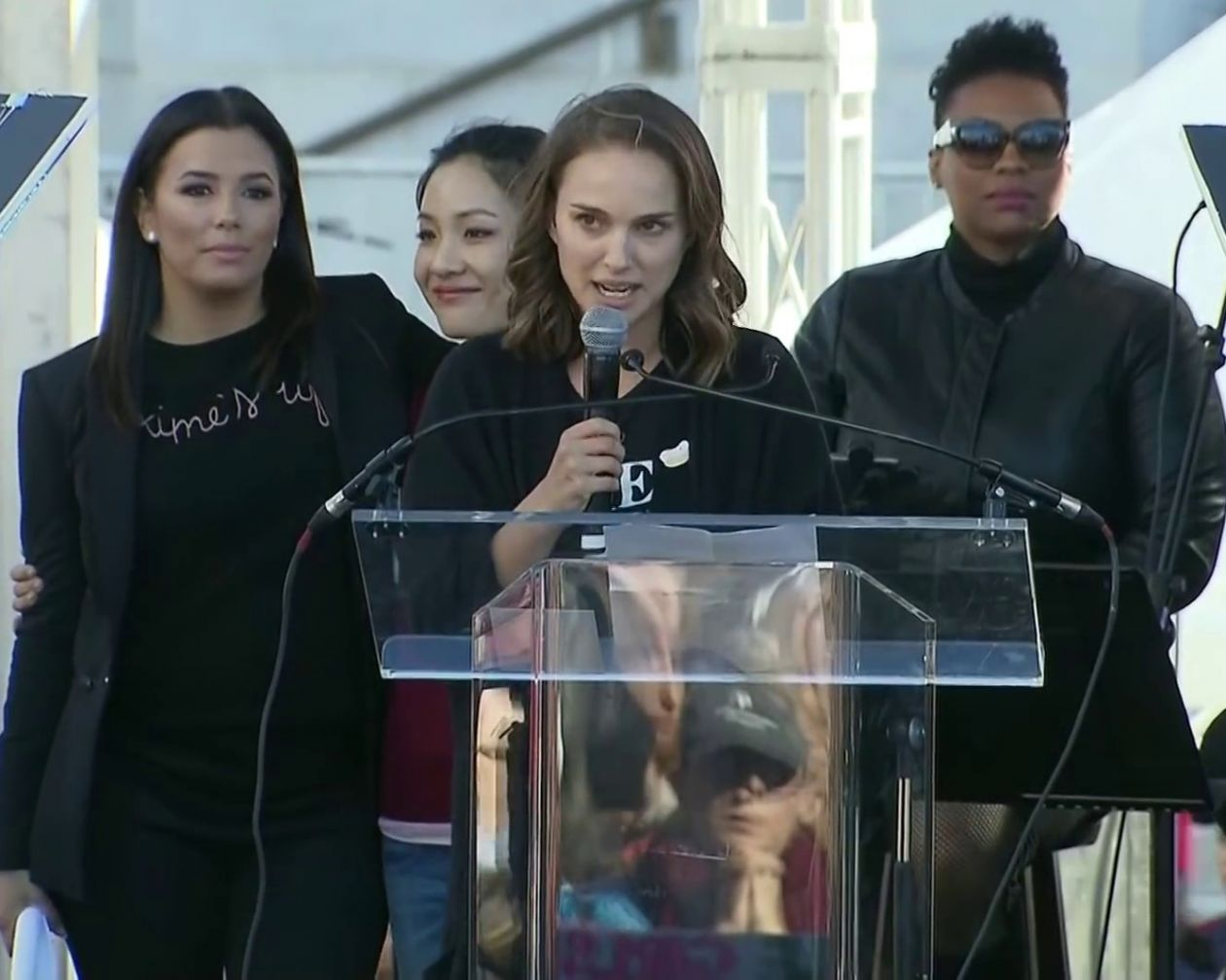 "Natalie Portman, Women's March, 2018: ""Let's make a revolution of desire! That world we want to build is the opposite of puritanical. Time to think about every person's desires, needs, wants, and pleasure"" / Time's Up"
