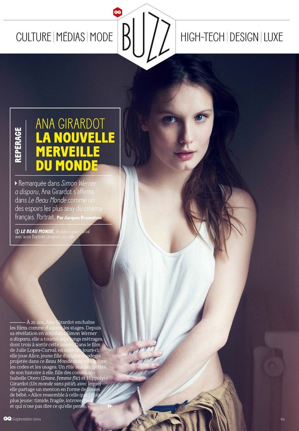 ANA GIRARDOT La nouvelle merveille du monde / GQ Magazine, France September 2014