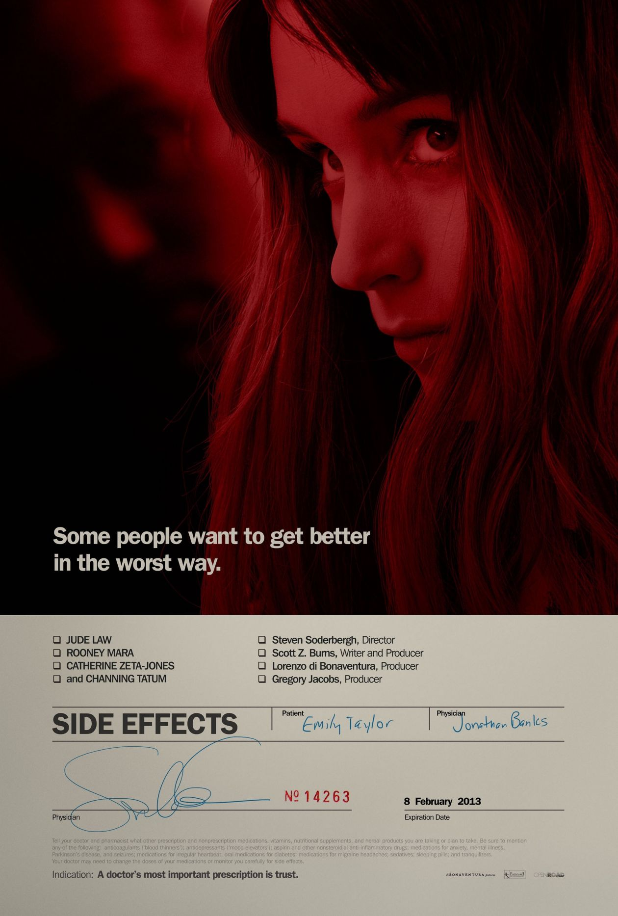 Rooney Mara  Side Effects / Effets secondaires | Steven Soderbergh, 2013 / Teaser Movie Poster
