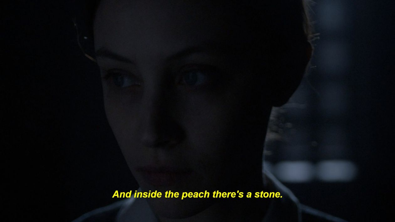 Sarah Gadon actress | Alias Grace | Netflix 2017  And inside the peach there's a stone.