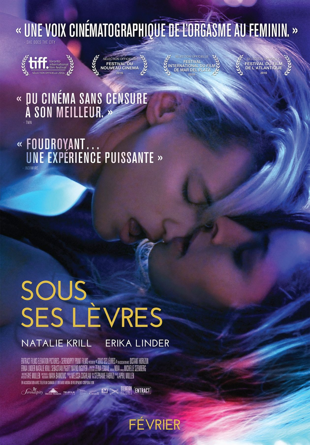 Erika Linder / Natalie Krill actresses | Below her mouth : Dallas / Jasmine | April Mullen 2016 / MOVIE POSTER / AFFICHE FILM / CANADA / SOUS SES LEVRES