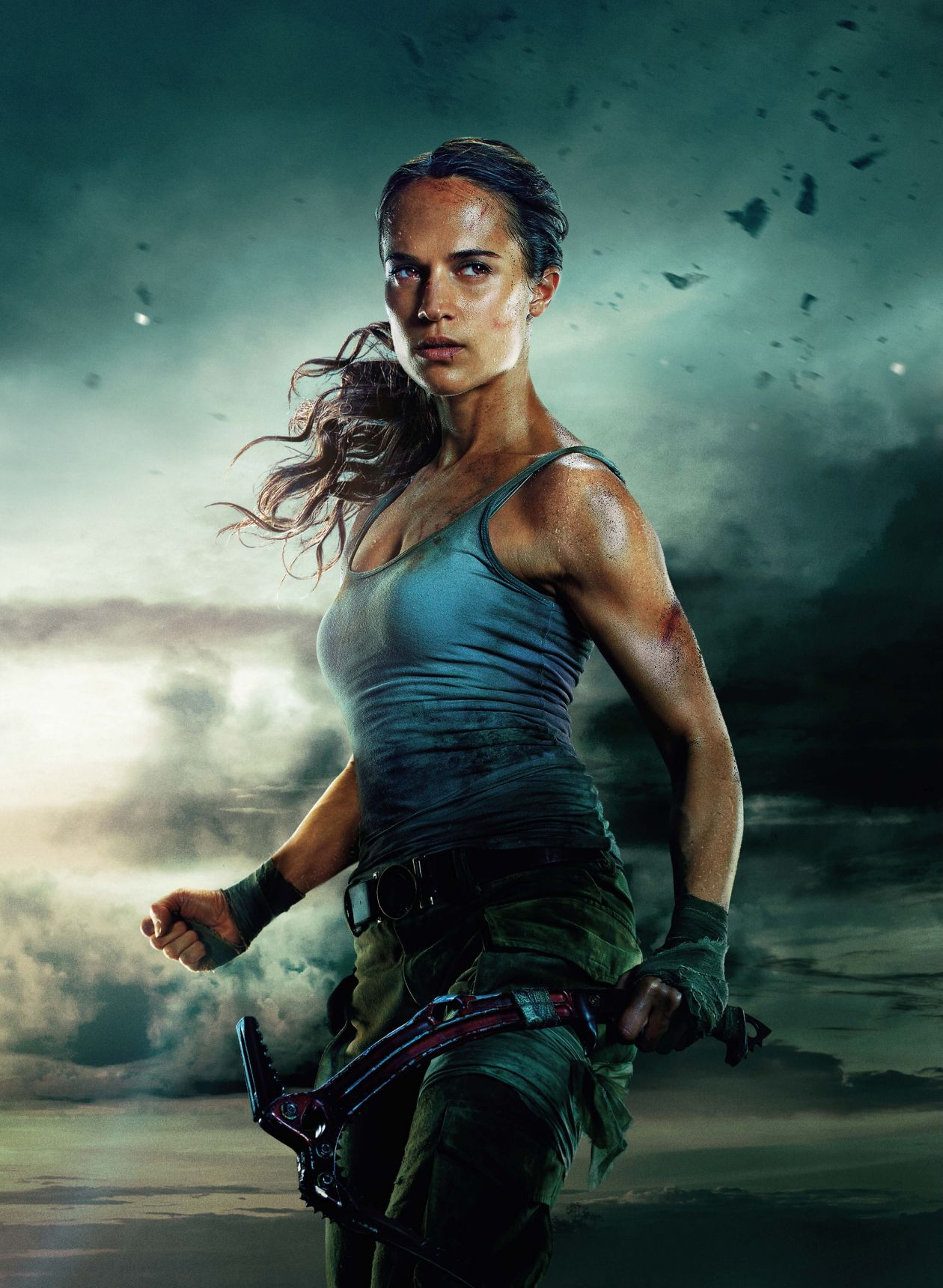 Alicia Vikander actress / Lara Croft / Tomb Raider 2018 Movie Teaser Poster / Affiche Teaser film