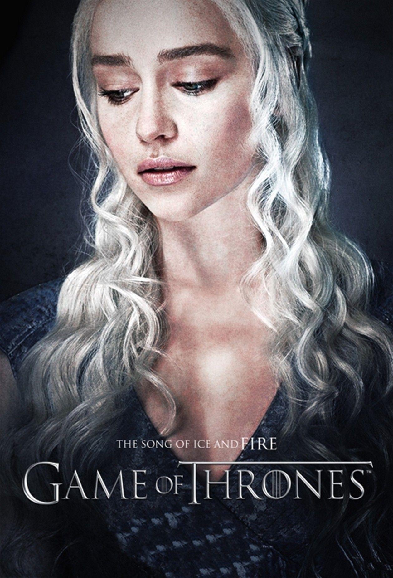 Emilia Clarke actress   Queen Daenerys Targaryen / Game of Thrones / Movie Series Season 5 Poster Affiche série Saison 5 2015