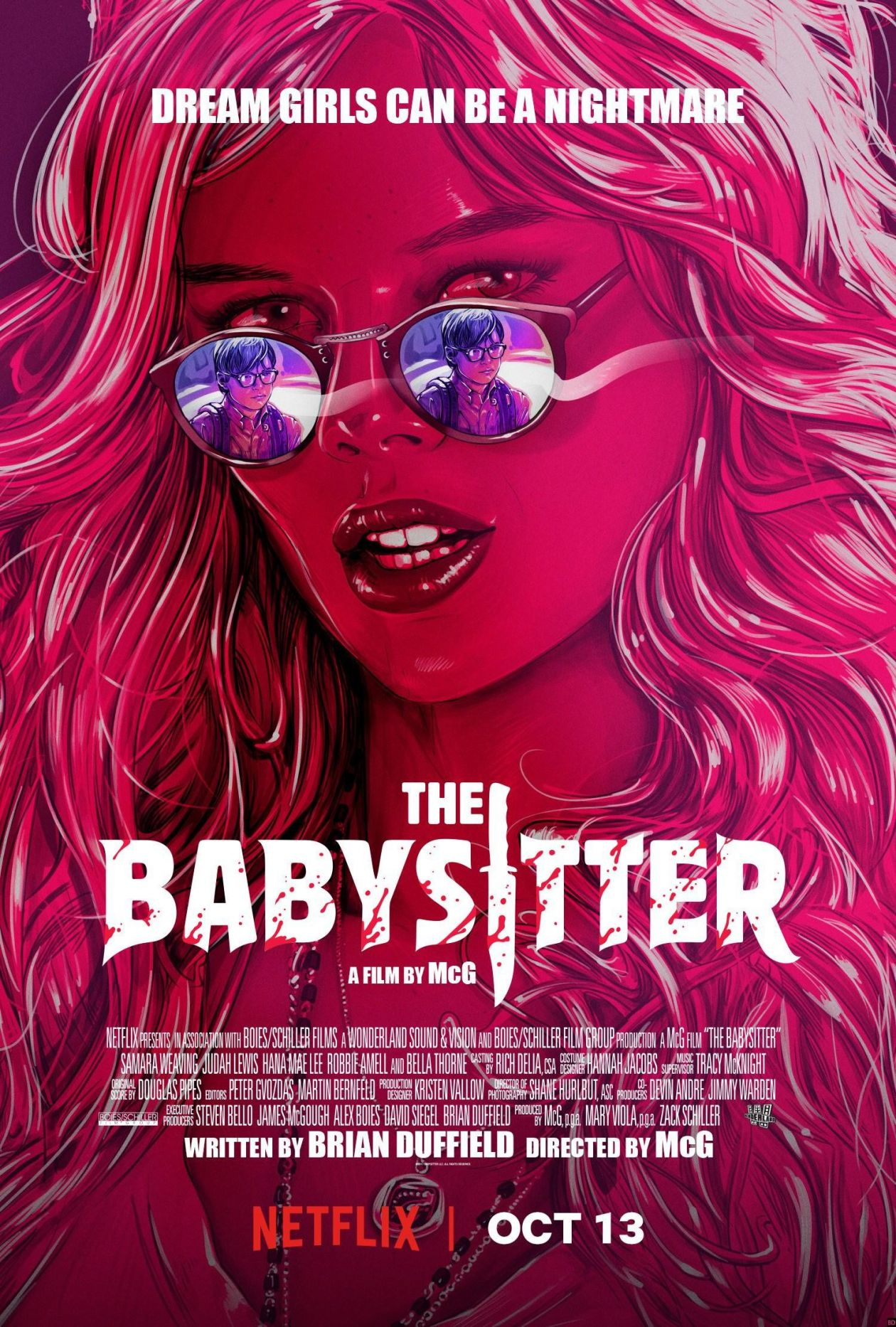 Samara Weaving Australian actress | The Babysitter : Bee | McG / Netflix 2017 / MOVIE POSTER